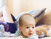 Porträt des lustigen kaukasischen neugeborenen Kleinkindbabys des Gesichtes mit schlafender Mutter und Katze Stockfotografie