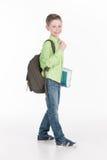 Porträt des lustigen kleinen Jungen, der Buch hält Lizenzfreies Stockbild