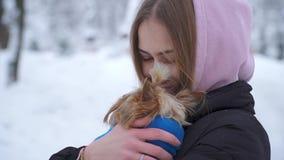 Porträt des Mädchens den kleinen Hund umarmend oben bedeckt im umfassenden Abschluss draußen Yorkshire-Terrier ist kalt Langsame  stock video
