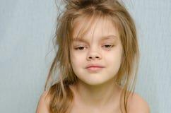 Porträt des Mädchens früh morgens geweckt Lizenzfreies Stockbild