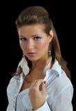 Porträt des Mädchens mit Ohrringen Lizenzfreies Stockfoto