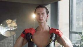 Porträt des männlichen Boxers in der Turnhalle stock footage