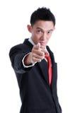 Porträt des Mannes zeigend mit seinem Finger Lizenzfreies Stockfoto