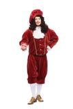 Porträt des Mittelaltermannes im roten Kostüm Stockbilder
