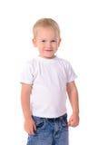 Porträt des modernen kleinen Jungen im weißen Hemd Stockbild
