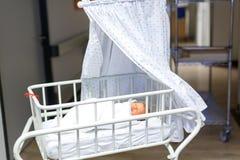 Porträt des netten entzückenden neugeborenen Babys im Geburtskrankenhaus Stockfotos