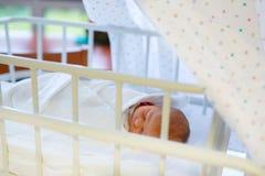 Porträt des netten entzückenden neugeborenen Babys im Geburtskrankenhaus Stockfoto