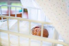Porträt des netten entzückenden neugeborenen Babys im Geburtskrankenhaus Stockfotografie