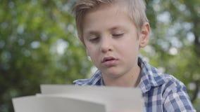 Porträt des netten hübschen Jungen im karierten Hemd, welches die Blätter Papier im Park betrachtet Sommerzeitfreizeitfreien stock video