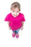 Porträt des recht kleinen Mädchens, das oben schaut Lizenzfreie Stockfotos