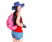 Porträt des Reisens der jungen Frau Stockfotos