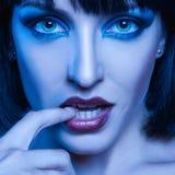 Porträt des süßen Brunette in den kalten Tönen lizenzfreie stockfotos