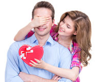 Porträt des schönen glücklichen Paars. lizenzfreie stockfotos