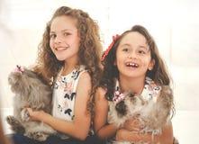 Porträt des schönen lächelnden girsl zwei, das ihre Katzen umarmt lizenzfreies stockbild