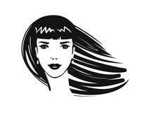 Porträt des schönen Mädchens, junge Frau mit dem langen Haar Schönheitssalon, Badekurort, Make-up, Mode, Logo oder Symbol Kunstsk Stockbilder