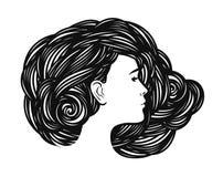 Porträt des schönen Mädchens, junge Frau mit dem langen Haar Schönheitssalon, Badekurort, Mode, Schönheitsaufkleber oder Logo Vek Stockbild