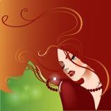 Porträt des schönen Mädchens mit den langen Haaren lizenzfreie abbildung