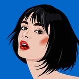 Porträt des schönen Mädchens mit geöffnetem Mund für Schönheitssalon oder Hauptanzeigen oder -fahne Stockbild