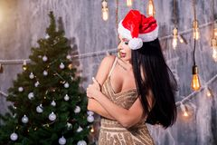 Porträt des schönen sexy Mädchens, das Weihnachtsmann-Kleidung nahe einem Weihnachtsbaum trägt lizenzfreies stockfoto