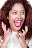 Porträt des sehr glücklichen lächelnden Gestikulierens der jungen Frau Stockbilder