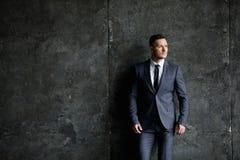 Porträt des stilvollen Mannes kleidete in einer Klage über grauem Hintergrund an lizenzfreie stockbilder