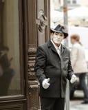 Porträt des Straßenpantomimen in Prag Lizenzfreie Stockfotografie