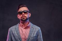 Porträt des styilish stolzen Mannes im karierten Blazer, im rosa Hemd und in der Sonnenbrille stockfotos