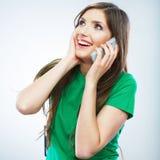 Porträt des Telefonanrufs der jungen Frau Lokalisiertes schönes Stockfotografie