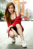 Porträt des touristischen Reisendlächelns der schönen jungen Asiatinnen Lizenzfreie Stockfotografie