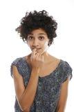 Porträt des verwirrten und unsicheren hispanischen Mädchens Stockbild