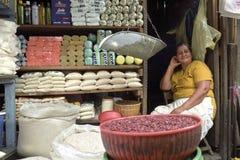 Porträt des weiblichen Latinolebensmittelhändlers im Eingang des Speichers Lizenzfreie Stockfotografie