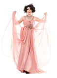 Porträt-Dragqueen in der rosa Abend-Kleiderausführung Stockfoto