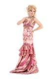 Porträt-Dragqueen in der rosa Abend-Kleiderausführung Lizenzfreie Stockfotos