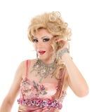 Porträt-Dragqueen in der rosa Abend-Kleiderausführung stockfotografie