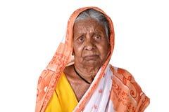 Porträt einer alten Frau, ältere indische Frau Lizenzfreies Stockfoto
