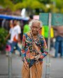 Porträt einer alten indonesischen Frau in Jogjakarta, Indonesien Lizenzfreies Stockfoto