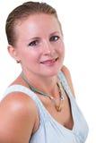Porträt einer blonden Frau lokalisiert auf Weiß Lizenzfreies Stockbild