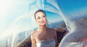 Porträt einer Braut mit Schleier auf Wind Stockbild