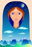 Porträt einer Decke mit der Landschaft Stockfotografie
