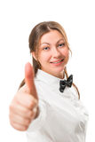 Porträt einer erfolgreichen Geschäftsfrau in einer schwarzen Fliege Lizenzfreie Stockfotografie