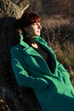 Porträt einer Frau in ¾ Ñ Ñ- Ñ 'уÐ'еÐ-½ Ð ½ ую Ð  Ð?Ð ½ Ð ½ ию Wetter Lizenzfreies Stockbild