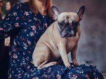 Porträt einer Frau, die mit einem netten Pug in einem Raum mit Dachboden sitzt Lizenzfreies Stockfoto