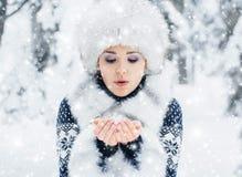 Porträt einer Frau im Winter kleidet auf dem Schnee Stockbild