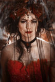 Porträt einer Frau mit einem Schleier Stockbilder