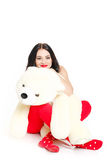 Porträt einer Frau mit einem Teddybären. Stockfoto