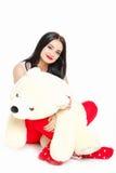 Porträt einer Frau mit einem Teddybären. Stockbilder