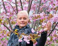 Porträt einer Frau mit Kirschblüte Stockbilder