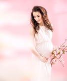 Porträt einer frohen schwangeren Dame stockbilder
