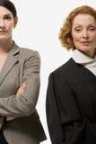 Porträt einer Geschäftsfrau und des Richters stockfotos