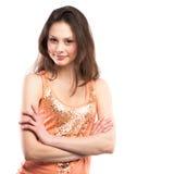 Porträt eines glücklichen Lächelns der jungen Frau stockfoto